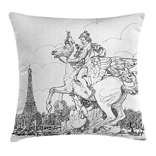 Antiguo paisaje urbano europeo Francia Escultura histórica Caballo de crianza Torre Eiffel, Funda de cojín de almohada en blanco y negro Funda de almohada decorativa con acento cuadrado, Retra