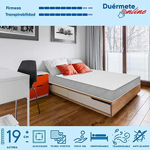 Duermete Viscoelástico ConfortVisco Reversible (colchón a 2 Caras), Firme y Transpirable, 90 x 190
