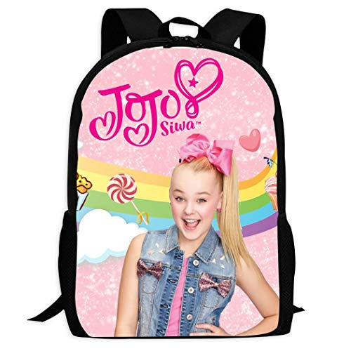 No aplicable Jojo-Siwa mochila escolar para niños, bolsa para adolescentes, negro, talla única