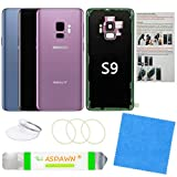 Galaxy S9 Back Glass Cover Replacement Housing Door with Pre-Installed Camera Lens + Installation Manual + All The Adhesive + Repair Tool Kit for Samsung Galaxy S9 SM-G960 All Carriers (Lilac Purple)