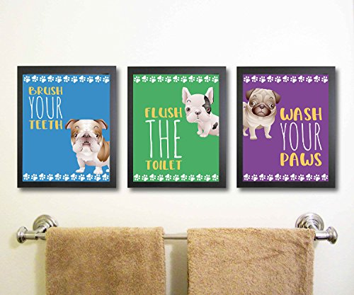 Silly Goose Gifts Puppy Dog Themed Bathroom Wall Art Print Decoration (Set of 3) Brush Teeth Flush Wash Hands No Frams Included