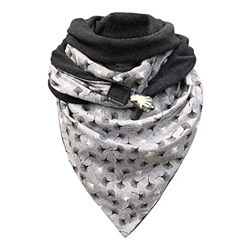 BAULMD Karo Curry kombiniert Tuch Halstuch, Leopardenprint Warm halten Damen Schals, Dezent Stilvoll Gepunktet Dreieckstuch XXL aus Musselin (F)