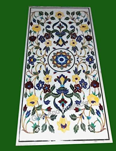 Mesa de comedor con incrustaciones de piedra de lapislázuli de 30 x 60 pulgadas, con aspecto elegante