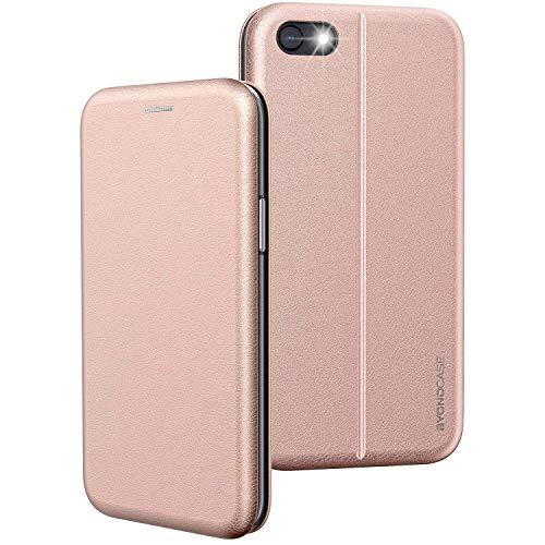 BYONDCASE Funda para teléfono móvil iPhone SE 2020, color rosa [Deluxe cuero Flip Case Funda] Funda protectora compatible para iPhone SE 2020 Funda