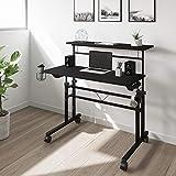 Techni Mobili Rolling Writing Height Adjustable Desktop and Moveable Shelf, Black Desk