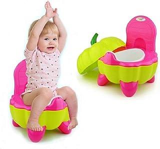 Malayas Orinal para Niños Inodoro Portátil para Bebé Orinal de Entrenamiento para Niños con Respaldo Ergonómico y Base Antideslizante Forma de Calabaza Color Rojo