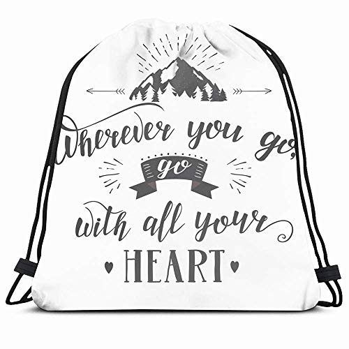 DHNKW Drawstring Backpack String Bag 14X16 Mountain Travel Parks Wanderlust Adventure Journey Emblem Explore Flat Inspire Forest Hipster Ornamental Sport Gym Sackpack Hiking Yoga Travel Beach