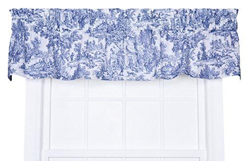 Victoria Park Toile Tailored Valence Window Curtain, Blue