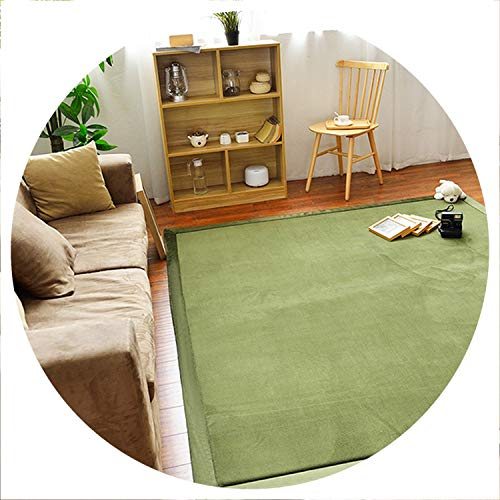 world-palm Home Carpet Coral Fleece Rug 2CM Thickness Tatami Carpet 180X200CM Living Room Rug Bedroom Mat Baby Play Mat,Dark Green,180X200CM 70X78IN