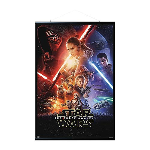 ERIK Pack Póster Star Wars VII con Colgador de Madera magnético, Negro, vertical (61x91.5 cm)