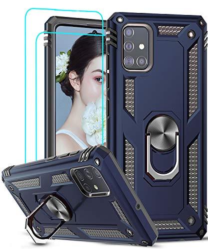 LeYi Funda Samsung Galaxy A51 con [2-Unidades] Cristal Vidrio Templado,Armor Carcasa con 360 Grados Anillo iman Soporte Hard PC y Silicona TPU Bumper Antigolpes Case para Movil A51,Azul