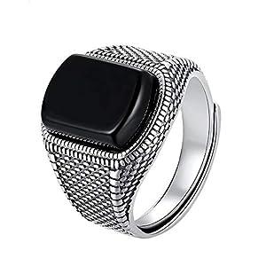 Schwarzer Stein Ring, Männer Real 925 Sterling Silber Offene Größe Vintage Hochzeit Frauen Herren Ringe Zirkonia Onyx Schmuck