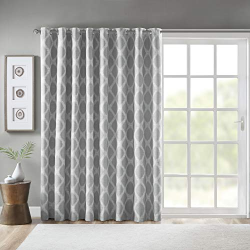 """SUNSMART Blakesly Blackout Curtains Patio Window, Ikat Print, Grommet Top Living Room Decor, Thermal Insulated Light Blocking Drape for Bedroom and Apartments, 100"""" x 84"""", Grey"""