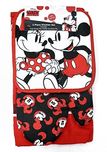 Disney - Set da cucina con guanto da forno e asciugamano Topolino Minnie, 3 pezzi, Cotone, Rosso, Taglia unica