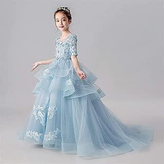 Luxury Children Princess Dress Girls Princess Dress Veil Flower Girl Dress Catwalk Trailing Pompon Wedding Dress Piano Evening Dress Costume Small Host ryq (Color : Blue, Size : 100cm)