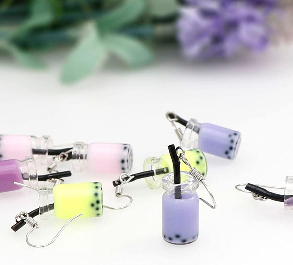 KASMOM 6Colors Lovely Milk Tea Drink Charm Bottle Resin Drop Earrings Fashion Candy Color Yellow Cup Dangle Earring for Women - as Photo PDMV-17081