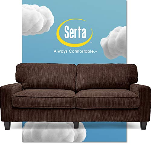 Serta Palisades Upholstered Sofas for Living Room Modern Design Couch, Straight Arms, Soft Fabric Upholstery, Tool-Free Assembly, 78', Brown