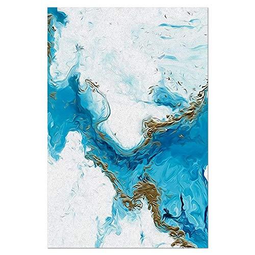 U/N Nordic Abstract Blue Golden Canvas Malerei Farbe Spalsh Poster und Druck Einzigartiges Dekor Wandkunst Bilder Zimmer Schlafzimmer-1