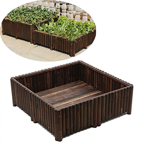 LDM Raised Garden Bed, Wooden Raised Garden Bed Box Kit Raised Planter Box for Vegetables Natural Wood 120X120x40cm