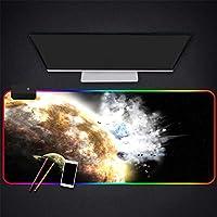 マウスパッドスペースプラネット衝突RGBゲーミングマウスパッドLEDバックライト滑らかな表面ゴムベース厚みのあるマウスマット、700*300 MM