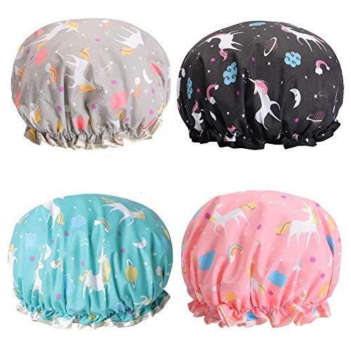 Gorro de baño de doble capa, BESLIME Pack de 4 gorros de ducha unicornio, elásticos y resistentes al agua - Gorros de baño para ducha y balneario para Chicas Mujer para Ducha SPA Salon