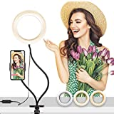 "Febhbrq 6-inch Round Selfie Ring Light with 24"" Gooseneck Stand & Cell Phone Holder for Makeup Light, Socialite, Teleworking, Live-Streaming, Office and Home Lamp with Clamp Mount and Light Kit"