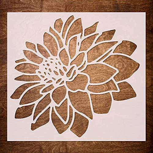 DLY LIFESTYLE Dahlia Stencil for Painting on Wood, Canvas, Paper, Fabric, Walls and Furniture - Flower Stencil - 6x6 Inches - Reusable DIY Art and Craft Stencils - Floral Stencil