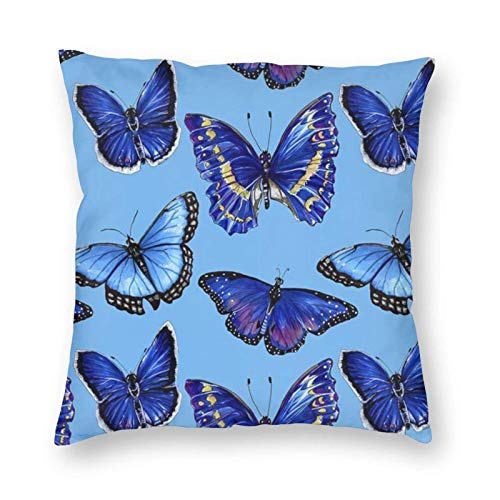 Hangdachang Blue Butterfly Soft Decorative Square Throw Pillow Cover Cushion Covers Pillowcase, Home Decor Decorations