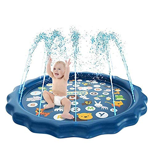 Inflatable Splash Pad Sprinkler for Kids Toddlers, Kiddie Baby Pool, Outdoor Games Water Mat Toys - Baby Infant Wadin Swimming Pool - Fun Backyard Fountain Play Mat for 1 -12 Year Old Girls Boys (60