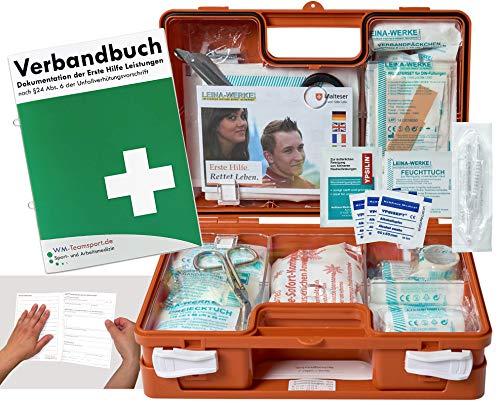Verbandskoffer/Verbandskasten (K) - Erste Hilfe nach DIN 13157 für Betriebe -DSGVO- INKL. PERFORIERTEM VERBANDBUCH