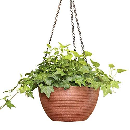 NOQQ Self Watering Hanging Planter Indoor Outdoor Hanging Baskets for Plants, 8.7 Inch Diameter Plastic Weave Basket with Water Level Indicator Gauge.