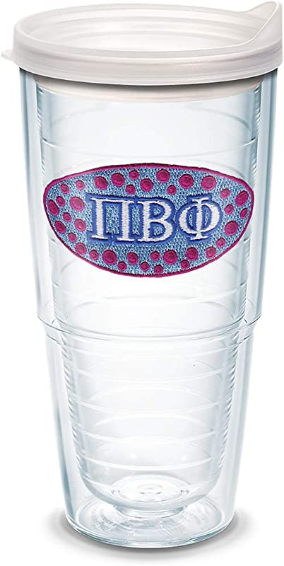 Tervis 1087815 Fraternity Pi Beta Phi Tumbler With Emblem And Frosted Lid 24oz Clear
