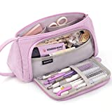 EASTHILL Big Capacity Pencil Case Canvas High Large Storage Pouch Marker Pen Case Simple Stationery Bag School College Office Organizer for Teens Girls Adults Student-Light Purple