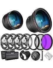 Neewer 58 mm lens en filter kit voor Canon EOS EF-S 18-55 mm lens: 0,43 X groothoek telelens UV CPL FLD filter en macrofilter set lenskap enz