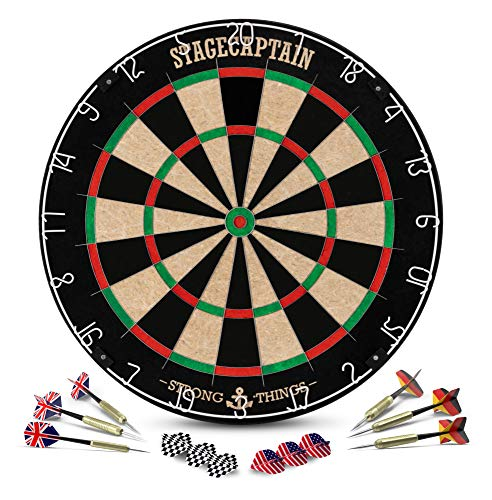 Stagecaptain DBS-1715 Bullseye Pro Dartscheibe mit Pfeilen - Profi Steeldartscheibe aus Sisal - Dartboard mit extra dünnen Drähten - Dart Scheibe mit 6 Dartpfeilen und 4 Sets Flights