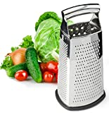 Spring Chef Box Grater, 4-Sided Stainless Steel Large 10-inch Grater for Parmesan Cheese, Ginger,...