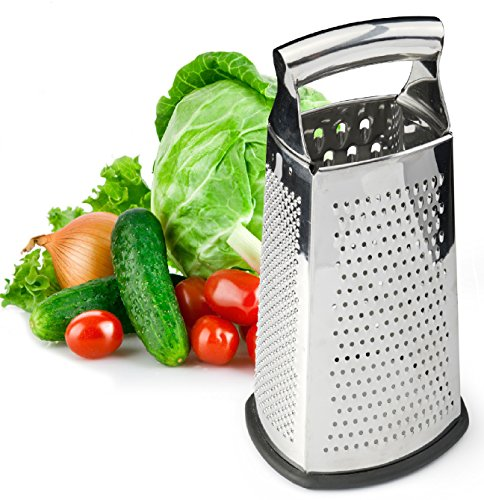 Spring Chef Box Grater, 4-Sided Stainless Steel