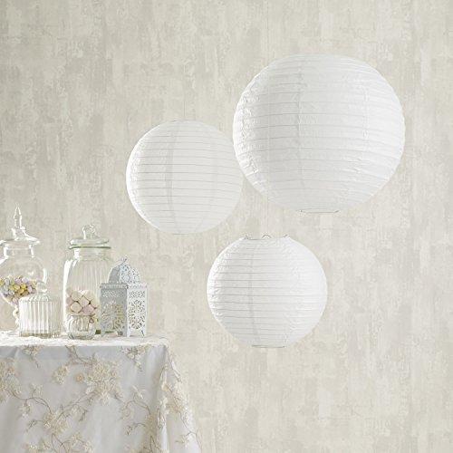 Lights4fun 9er Set Papier Lampions weiß