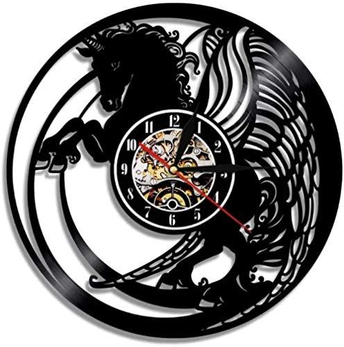 Reloj de Pared de Vinilo Magic Wings Horse Reloj de Pared con Disco de Vinilo Regalo para Miembros de la Familia Feliz Fiesta de Bierthday Regalo para él Sus Mujeres Hombres 12 Pulgadas