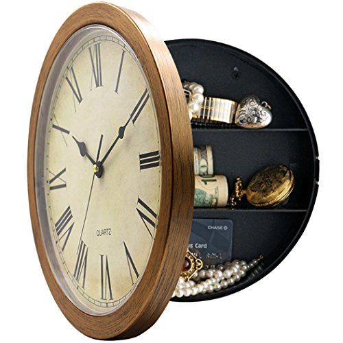 MAGHO 10 Inch Plastic Wall Clock with Hidden Compartment, Wall Clock Diversion Safe with Secret Interior Storage for Jewelry, Cash, Valuables