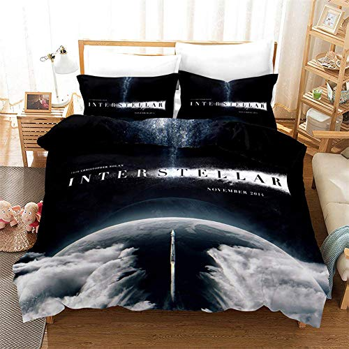 Siunwdiy Bettwäsche 135 * 200cm,Interstellar Bettwäsche-Sets Bettbezug-Set 3 Stück 3D-Raumschiff Astronaut Mikrofaser Schlafzimmer Duvet Set mit 2 Pillowcase, Single Double King Size,A,135x200cm