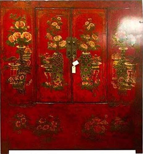 Fine Asianliving Antieke Chinese Tibetaanse Kast Handbeschilderd Rood Chinese Kast Meubels Chinese Kasten Oosterse Meubelen Stijl HL-41