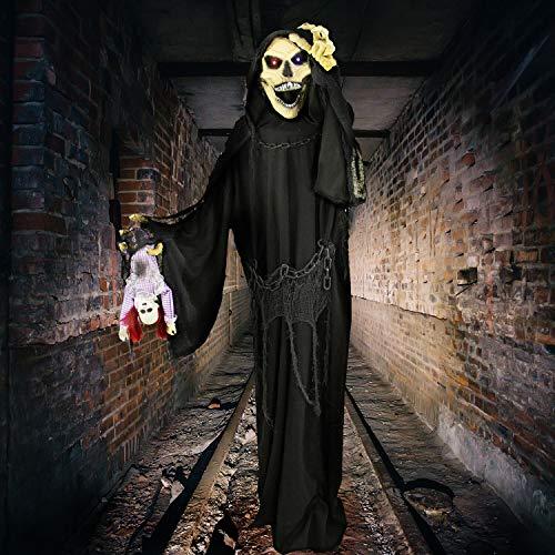 Haunted Hill Farm HHRPR-6FLSA Life-Size Animatronic Reaper, Indoor/Outdoor Halloween Decoration, Multi