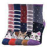 Jogoo 5 Paar flauschige Damen-Socken, warm, Winter, gemütlich, weich, Crew-Socken, Slipper-Socken, für Zuhause, zum Schlafen, niedliche Tier-Weihnachtssocken