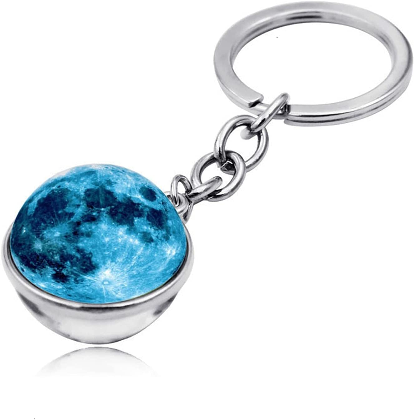 LQMM 1Pcs Solar System Planet Keychain Galaxy Nebula Space Moon Earth Mars Art Picture Double Side Glass Key Chain Car Keyring Bag Pendant 606 (Color : 12)