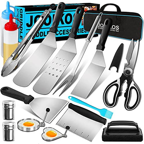 Jooikos Griddle Accessories Kit,Griddle Grill Tools Set for Blackstone and Camp Chef Griddle - Grill BBQ Spatula Set with Spatula, Bottle, Tongs, Scraper for Hibachi Grill and Teppanyaki Grill