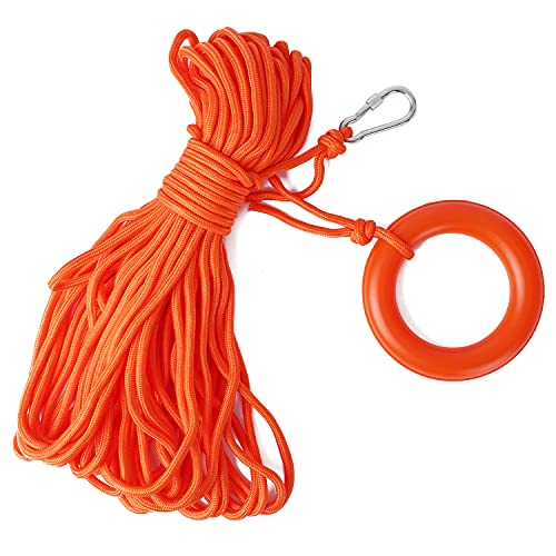 Water Floating Lifesaving Rope 98.4FT, Outdoor Professional Throwing Rope Rescue Lifeguard Lifeline with Bracelet/ Hand Ring for Swimming Boating Fishing 800KG Capacity