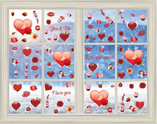 Valentinstag Dekoration,Valentinstag Fensteraufkleber,Roter Herz Aufkleber,Rote Rose Lippen Wandtattoo Schlafzimmer,Abnehmbare PVC Aufkleber Herz für Geburtstag Hochzeit Geburtstagsfeier Party Dekor