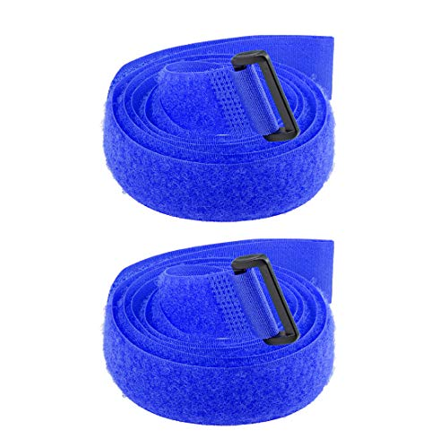 sourcing map 2Stk. Klettband 1-Zoll x 47-Zoll Sicherungsgurte Wiederverwendbarer Kabelbinder Blau