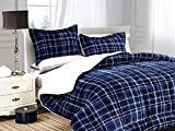 Elegant Comfort Softest, Coziest Heavy Weight Plaid Pattern Micromink Sherpa-Backing Premium Quality Down Down Alternative Micro-Suede 3-Piece Reversible Comforter Set, King/Cal King, Navy Blue
